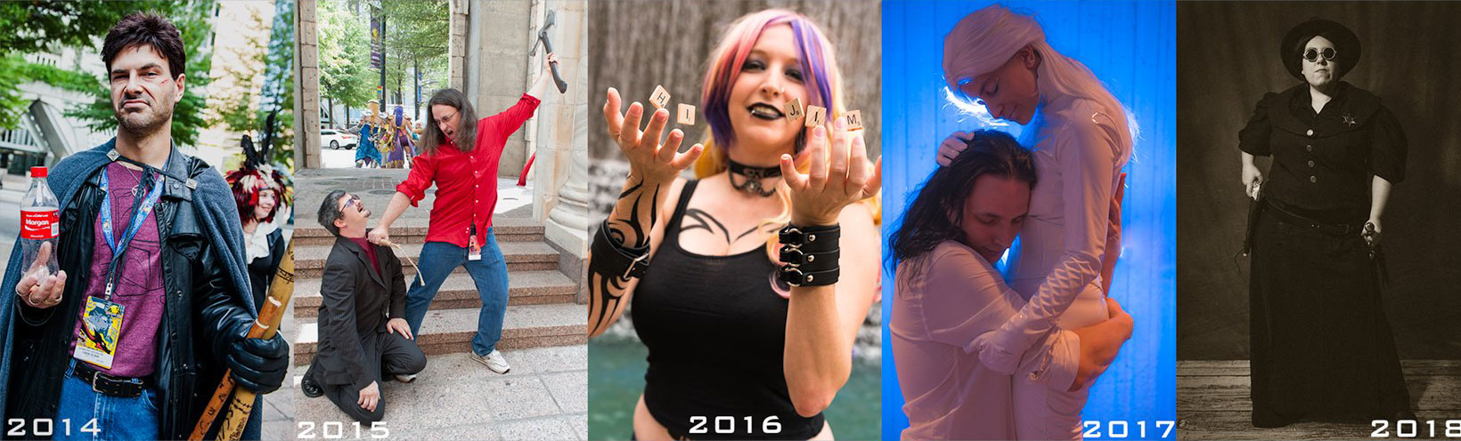 Banner of photos from past DragonCon cosplay shoots