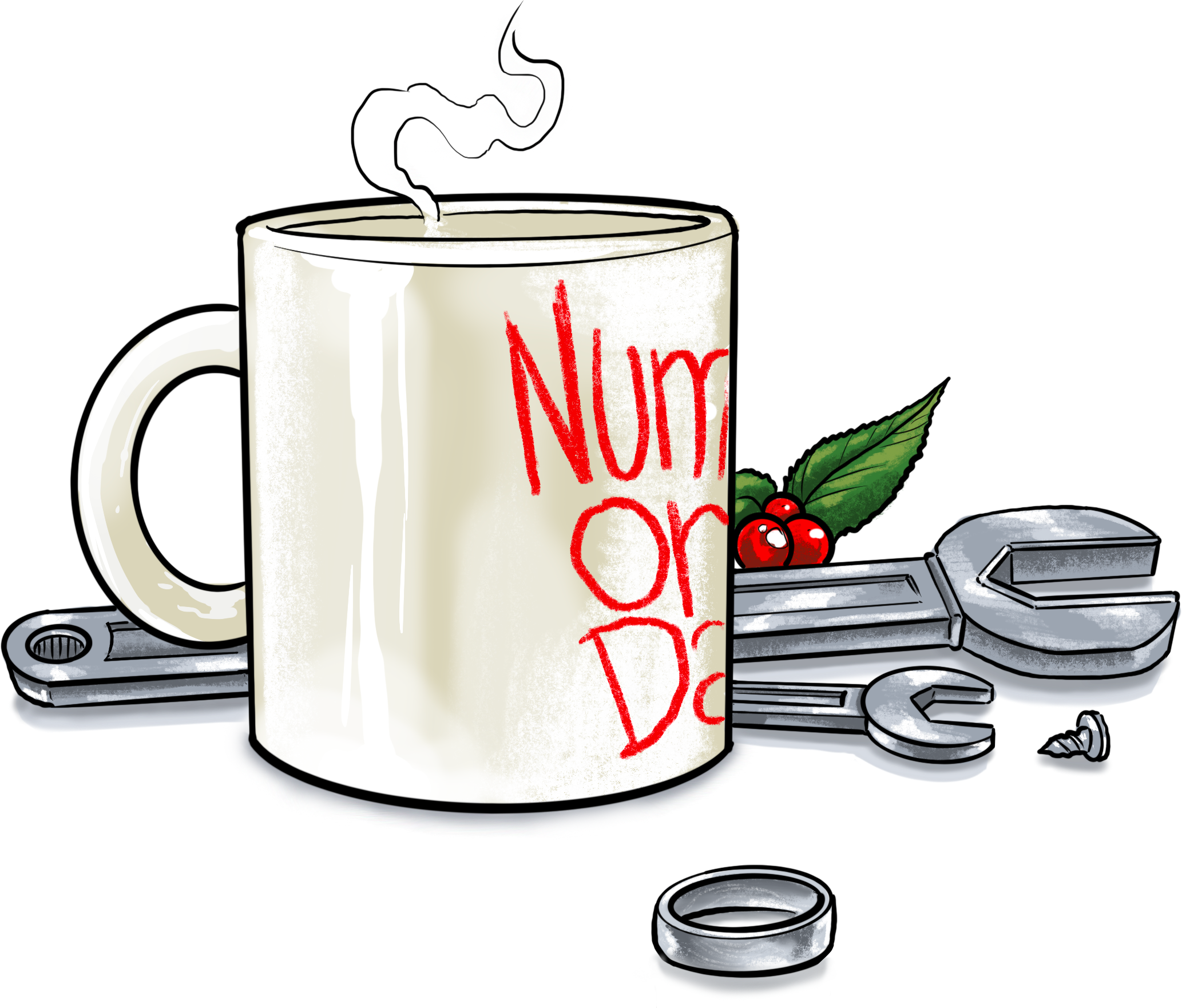 Coffee mug with wrenches, a ring, and holly berries.
