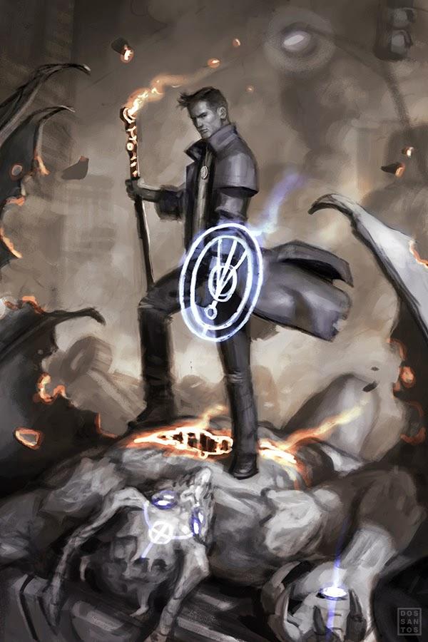 Dan Dos Santos Sketch of Harry standing atop a demonic foe