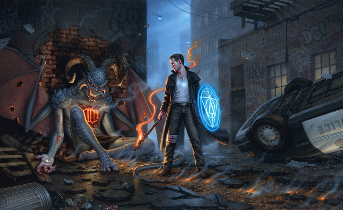 Dan Dos Santos illustration of Harry defeating a monstrous Denarian
