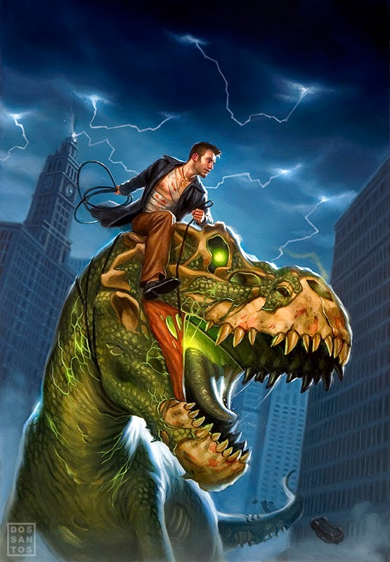 Harry rides a zombie T-Rex on the cover art for Wizard at Large