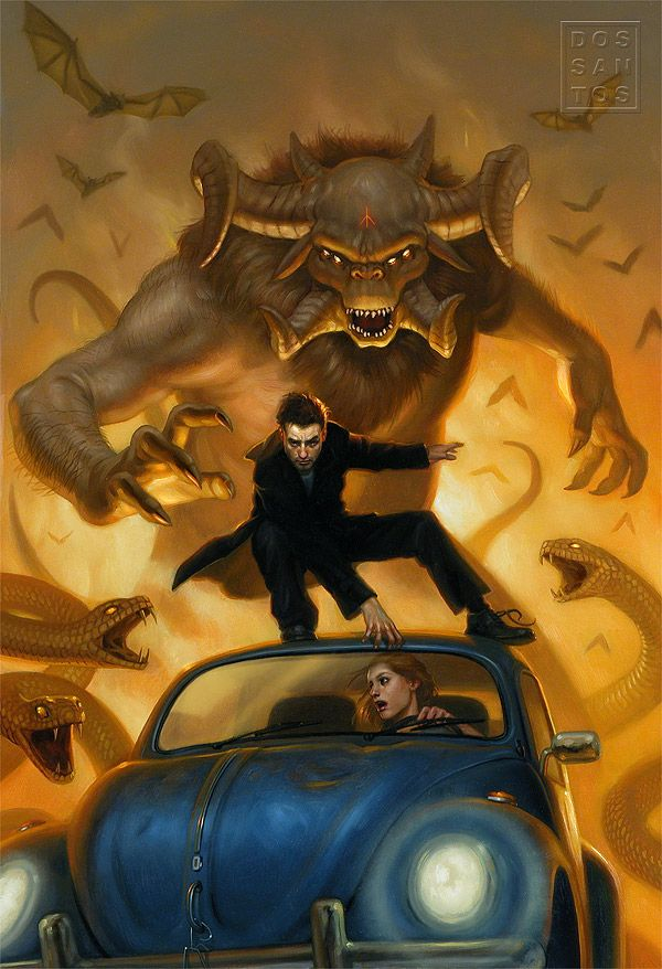 Harry clings to the Beetle's hood as he attempts to outrun epic-scaled mythological monsters on the Cover art for Wizard by Trade