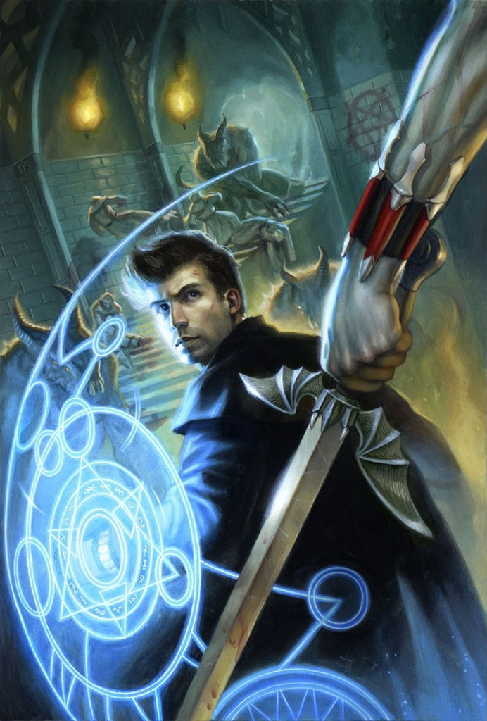Harry shields himself from a sword-wielding attacker on the cover art for Wizard Under Fire