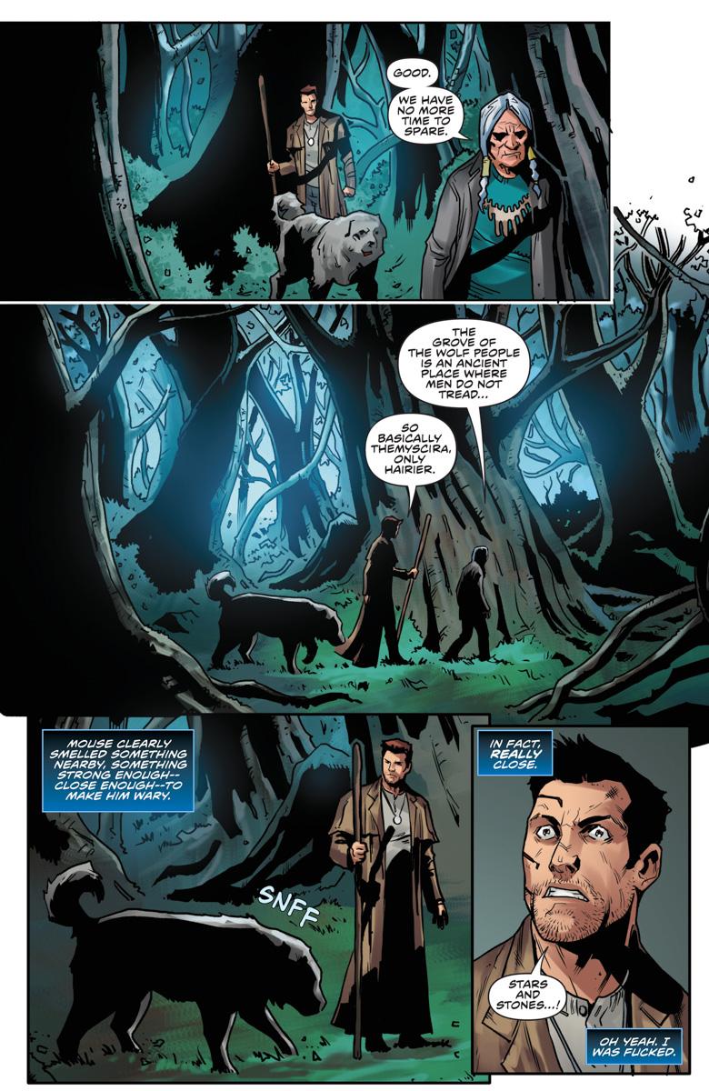 Dog Men Woods by Diego Galindo