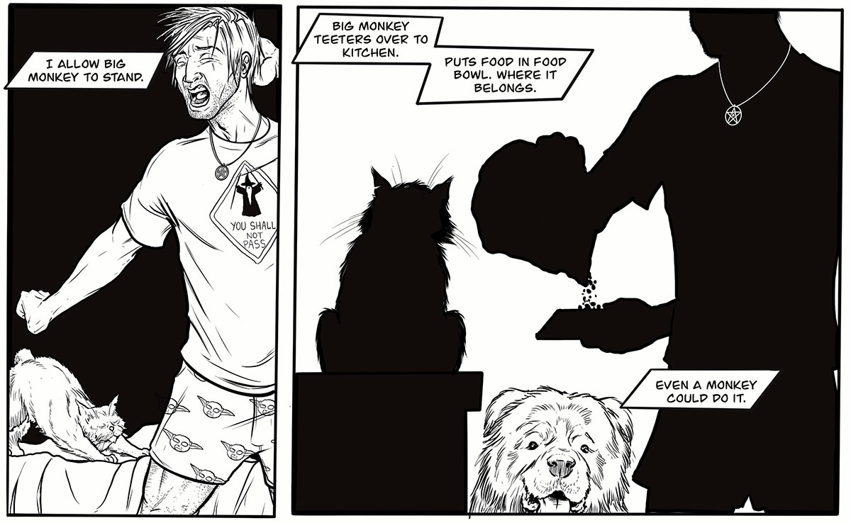 A panel from the Mister micro-comic: Harry and Mister stretch, then Harry fills Mister's food bowl.
