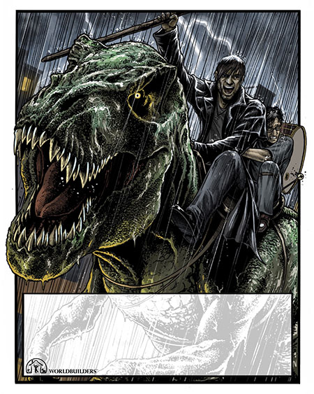 Harry and Butters ride Sue the Zombie T-Rex into battle! Both are drenched with rain, but Harry holds his staff high as he yells a rallying cry. Butters clings to Harry's midsection in terror.