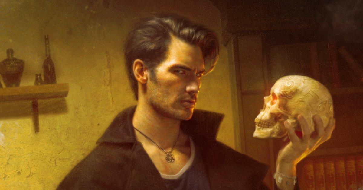 In his lab, Harry holds Bob's skull in a parody of Hamlet's Yorick speech