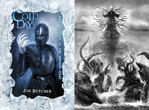 LEFT IMAGE: Cover Illustration featuring Harry weighed down by a dark suit of armor. Ice coats his upraised bare hand, forming claws. RIGHT IMAGE: Lovecraftian horrors thrash in the water, led by He Who Walks Before