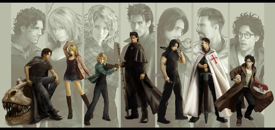 Dresden character gallery by Mika Kuloda: Ramirez, Molly, Murphy, Harry, Thomas, Michael, and Butters