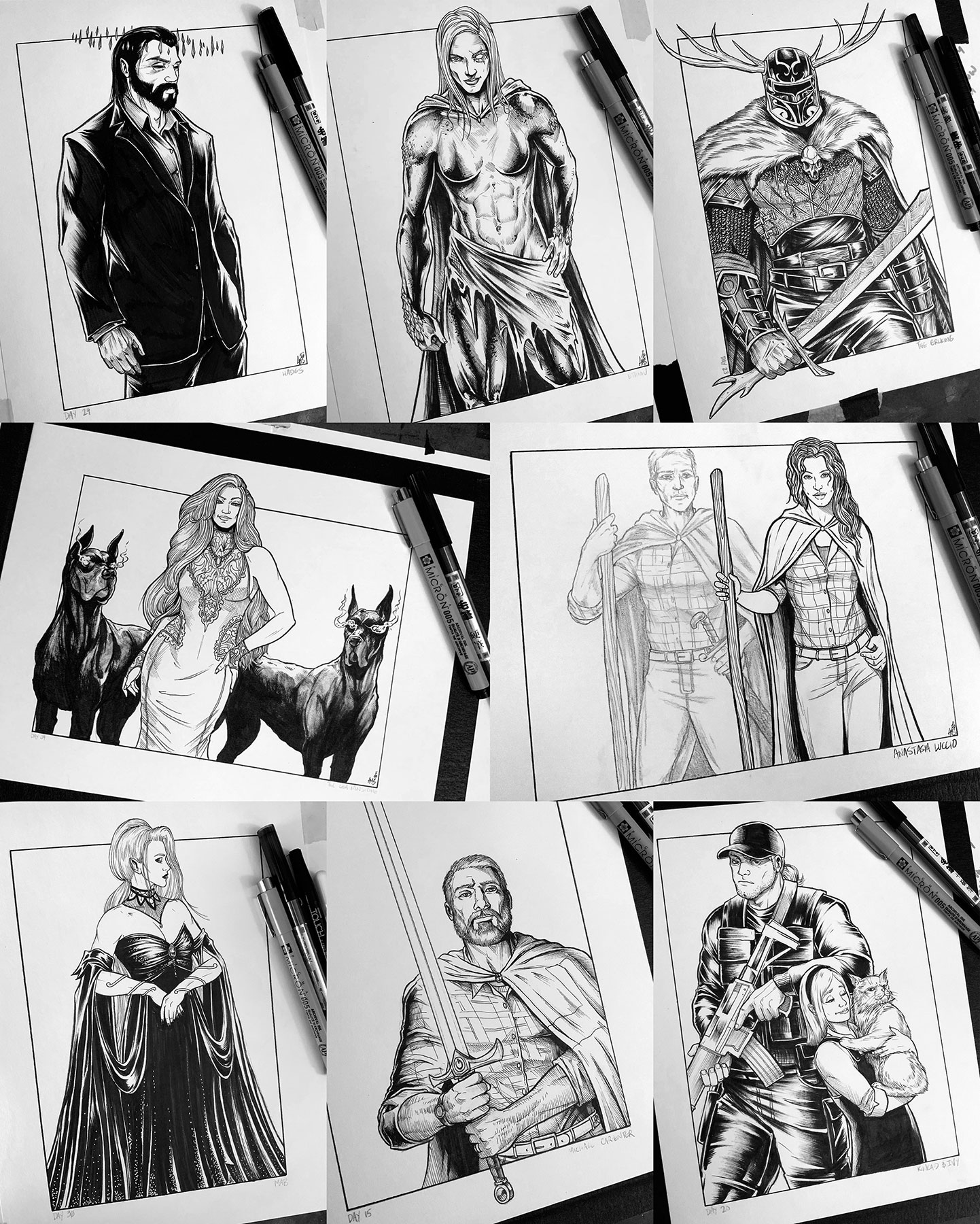 Collage of Adam Mathison-Sward illustrations for Inktober: Hades, Ethniu, the Erlking, Lea, Luccio, Mab, Michael, and Kincaid and Ivy