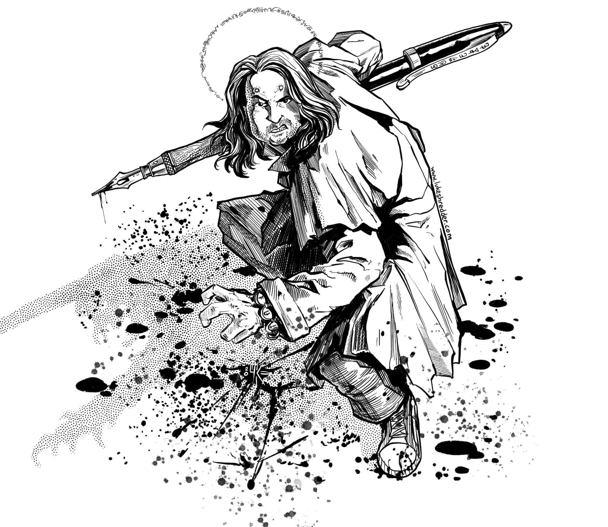 Illustration of Jim in an aggressive stance, holding a massive fountain pen like a weapon, covered in spatters of ink reminiscent of blood