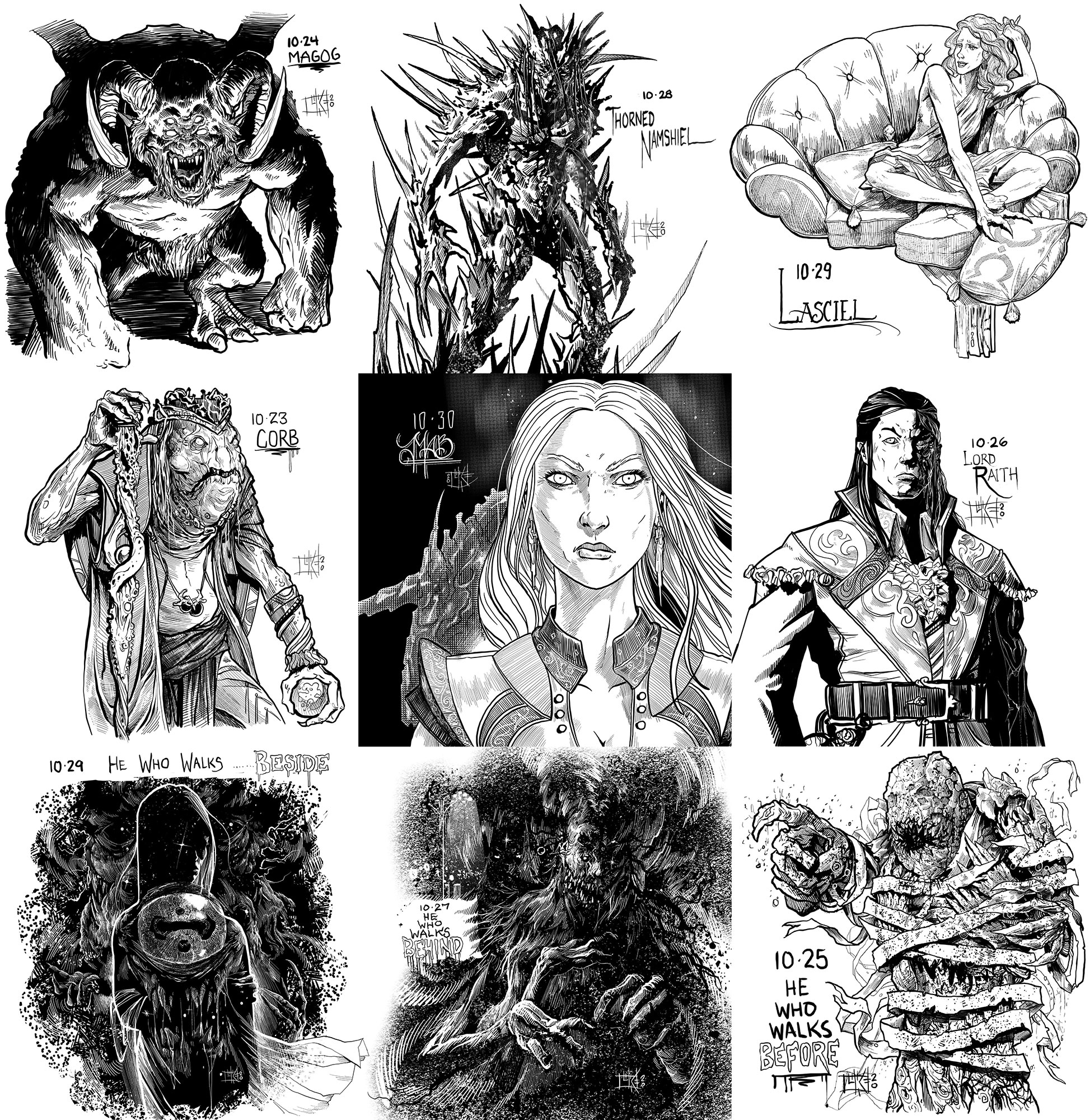 Collage of images by Luke Schroder for Inktober: Magog, Thorned Namshiel, Lasciel, King Corb, Mab, Lord Raith, and He Who Walks Beside, Behind, and Before