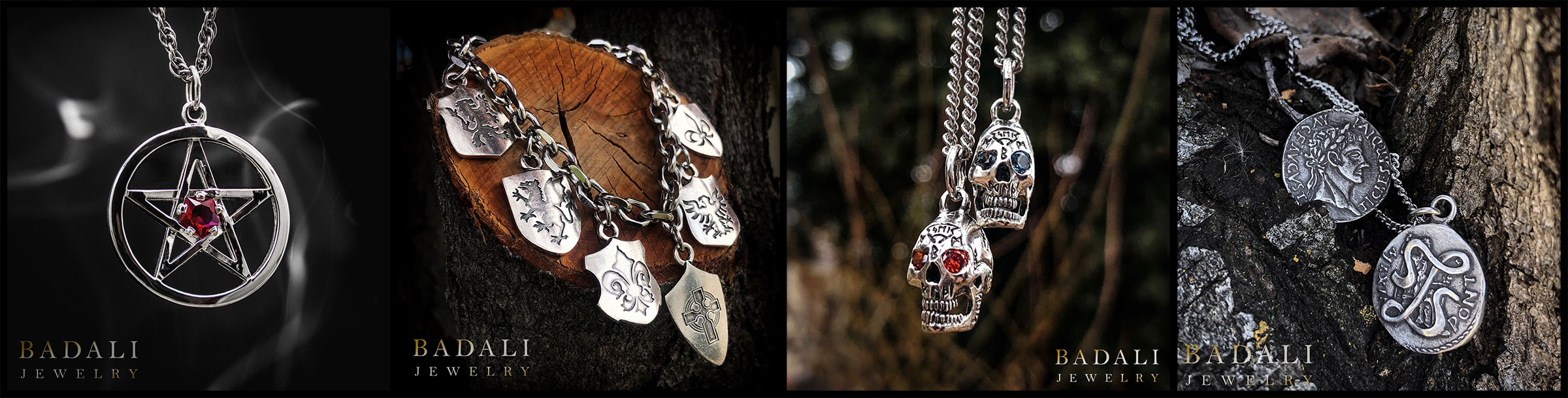Badali Jewelry Dresden Files Line, including Harry's Pentacle and Shield Bracelet, a Bob necklace, and Lasciel's coin