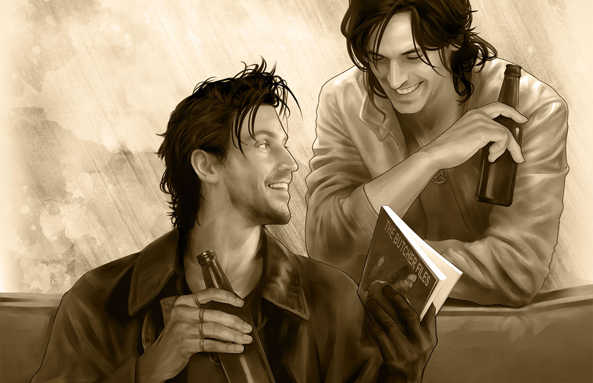 """Harry and Thomas laugh together over a couple beers. Harry is holding a slim book titled """"The Butcher Files."""" Illustration by Mika Kuloda."""