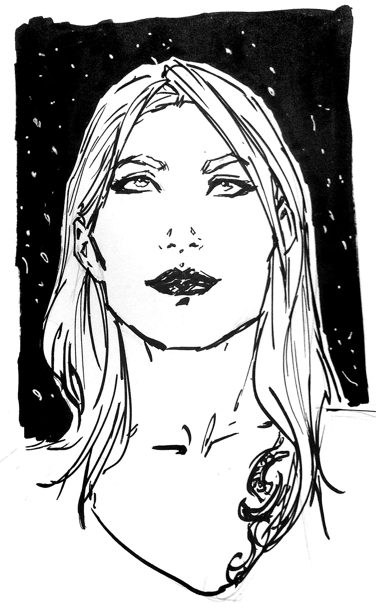Simple yet striking brush pen illustration of Molly's face, looking self-assured and ethereal before a snowy backdrop.